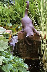 Water feature and cat sculpture at Glen Chantry