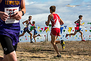 Boys make their way through a maze of flags during the Inland Empire Cross Country Challenge in Lewiston, Idaho on Saturday, Oct. 2, 2019. (Rebecca Noble/Lewiston Tribune)