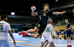Emil Mellegard of Sweden during handball match between National Teams of Sweden and Algeria at Day 2 of IHF Men's Tokyo Olympic  Qualification tournament, on March 13, 2021 in Max-Schmeling-Halle, Berlin, Germany. Photo by Vid Ponikvar / Sportida