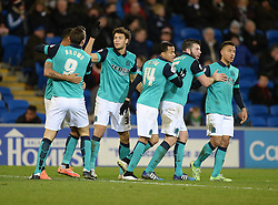Blackburn Rovers's Rudy Gestede celebrates his goal with his team  to make it 1-1 against his former club. - Photo mandatory by-line: Alex James/JMP - Mobile: 07966 386802 - 17/02/2015 - SPORT - Football - Cardiff - Cardiff City Stadium - Cardiff City v Blackburn Rovers - Sky Bet Championship