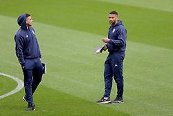 Birmingham City's Che Adams (left) and David Davis before the game.