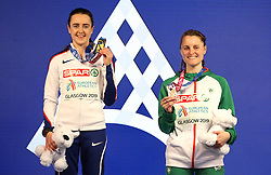 Great Britain's Laura Muir (left) and Ireland's Ciara Mageean with their medals at the Women's 1500m Final during day three of the European Indoor Athletics Championships at the Emirates Arena, Glasgow.