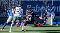 UTRECHT -  David Harte (k) (Kampong) ziet Rotterdam scoren uit een strafcorner,  tijdens de competitie hoofdklasse hockeywedstrijd mannen,  Kampong-Rotterdam (6-3)  COPYRIGHT  KOEN SUYK