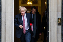 © Licensed to London News Pictures. 27/03/2018. London, UK. Foreign Secretary Boris Johnson (L) and Defence Secretary Gavin Williamson (R) on Downing Street after the weekly Cabinet meeting. Photo credit: Rob Pinney/LNP