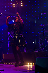 © Licensed to London News Pictures. 10/05/2012. London, UK.  Happy Mondays perform live at O2 Academy Brixton.  In picture - Rowetta Satchell (vocals).  Photo credit : Richard Isaac/LNP