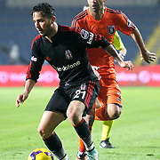 Istanbul Basaksehir's Semih Senturk (R) and Besiktas's Kerim Koyunlu (L) during their Turkish Super League soccer match Istanbul Basaksehir between Besiktas at the Basaksehir Fatih Terim Arena at Basaksehir in Istanbul Turkey on Sunday, 09 November 2014. Photo by Kurtulus YILMAZ/TURKPIX