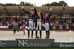 Podium Seniors, Gal Edward, Minderhoud Hans Peter, Cornelissen Adelinde, NED<br /> Nederlands Kampioenschap Dressuur <br /> Ermelo 2018<br /> © Hippo Foto - Dirk Caremans<br /> 29/07/2018