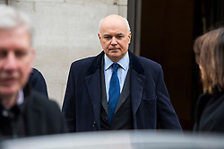 © Licensed to London News Pictures. 20/03/2016. London, UK. Former Work and Pensions secretary, IAIN DUNCAN SMITH leaves BBC Broadcasting House in London after appearing on The Andrew Marr Show. Duncan Smith resigned earlier this week, claiming that George Osborne's budget cuts had gone too far.  Photo credit: Ben Cawthra/LNP