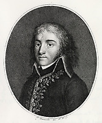 Louis Lazare Hoche (1768-1797) General in the French Revolutionary Army. Engraving.