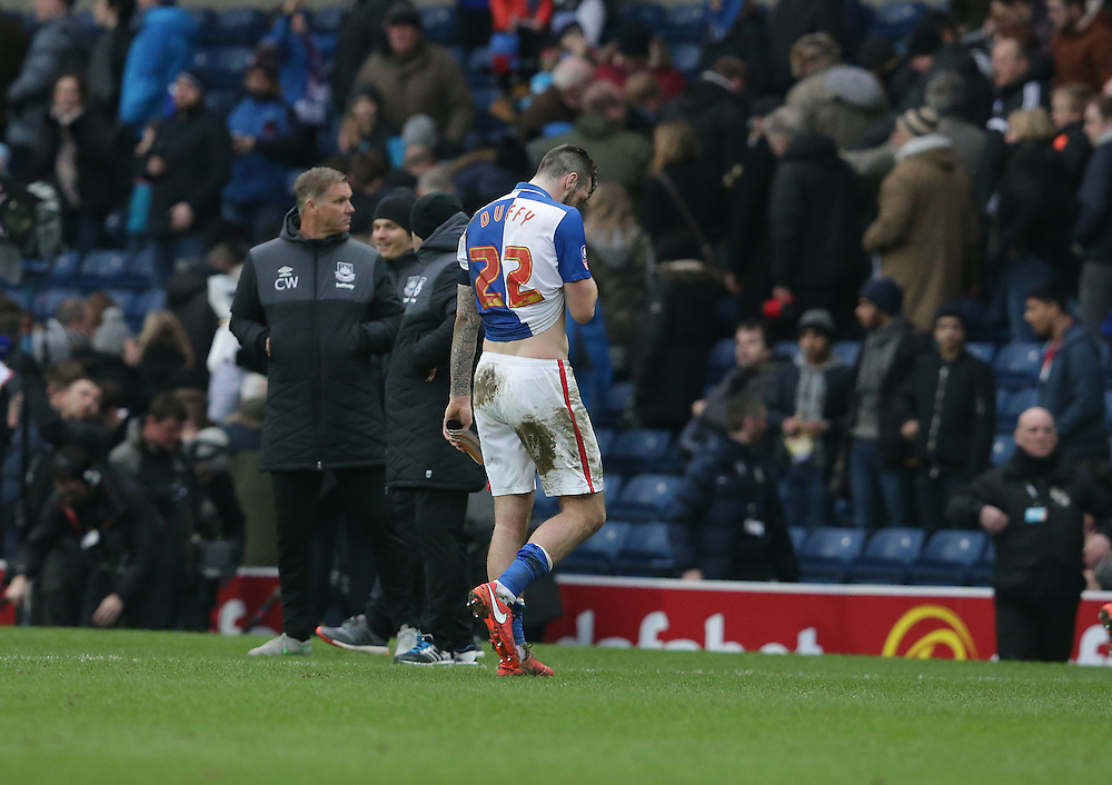Blackburn Rovers' Shane Duffy trudges off the pitch after the final whistle, his team losing 5-1<br /> <br /> Photographer Stephen White/CameraSport<br /> <br /> Football - The FA Cup Fifth Round - Blackburn Rovers v West Ham United - Sunday 21st February 2016 - Ewood Park - Blackburn<br /> <br /> © CameraSport - 43 Linden Ave. Countesthorpe. Leicester. England. LE8 5PG - Tel: +44 (0) 116 277 4147 - admin@camerasport.com - www.camerasport.com