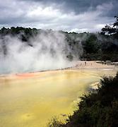 Hot spring steam and pool, Waiotapu, near Rotorua, north island, New Zealand