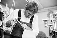 Master stonemason Jernej Bortolato in his workshop in the village of Pliskovica, Kras (Karst) region, Slovenia © Rudolf Abraham