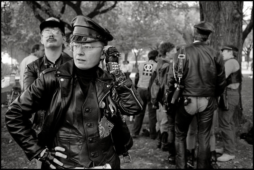 """Member of a """"leather group"""" at the National March on Washington for Lesbian and Gay Rights on October 11, 1987."""