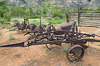 Antique farming implements at the historic Ewing-Snell Ranch, Bighorn Canyon National Monument Montana