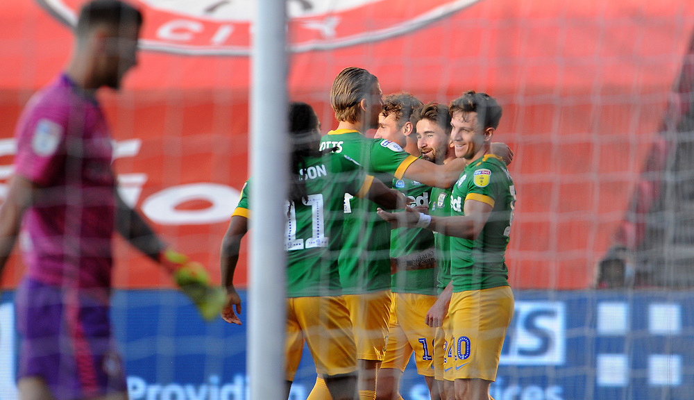 Preston North End's Sean Maguire celebrates scoring his side's first goal <br /> <br /> Photographer Ian Cook/CameraSport<br /> <br /> The EFL Sky Bet Championship - Bristol City v Preston North End - Wednesday July 22nd 2020 - Ashton Gate Stadium - Bristol <br /> <br /> World Copyright © 2020 CameraSport. All rights reserved. 43 Linden Ave. Countesthorpe. Leicester. England. LE8 5PG - Tel: +44 (0) 116 277 4147 - admin@camerasport.com - www.camerasport.com