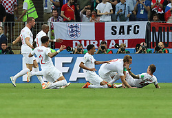 MOSCOW, July 11, 2018  Kieran Trippier (1st R) of England celebrates scoring with teammates during the 2018 FIFA World Cup semi-final match between England and Croatia in Moscow, Russia, July 11, 2018. (Credit Image: © Yang Lei/Xinhua via ZUMA Wire)