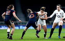 Amy Wilson Hardy of England is tackled by Christelle Le Duff of France Women - Mandatory by-line: Robbie Stephenson/JMP - 04/02/2017 - RUGBY - Twickenham - London, England - England v France - Women's Six Nations