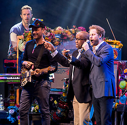June 28, 2016 - London, Greater London, United Kingdom -  28/06/2016. London, United Kingdom. Sentebale Charity Concert...Prince Harry joins Coldplay onstage at Sentebale Charity Concert for young people living with HIV/AIDS in sub-Saharan Africa. The Concert is held in Kensington Palace.....  (Credit Image: © Cpna i-Images via ZUMA Wire)