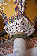Ornate Byzantine column capital in the Hagia Sophia ( Ayasofya ) , Istanbul, Turkey .<br /> <br /> If you prefer to buy from our ALAMY PHOTO LIBRARY  Collection visit : https://www.alamy.com/portfolio/paul-williams-funkystock/hagia-sophia-istanbul.html<br /> <br /> Visit our TURKEY PHOTO COLLECTIONS for more photos to download or buy as wall art prints https://funkystock.photoshelter.com/gallery-collection/3f-Pictures-of-Turkey-Turkey-Photos-Images-Fotos/C0000U.hJWkZxAbg
