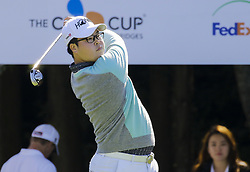 October 20, 2017 - Seogwipo, Jeju Island, South Korea - Jung-gon Hwang of South Korea action on the 1th tee during an PGA TOUR THE CJ CUP NINE BRIDGE DAY 2 at Nine Bridge CC in Jeju Island, South Korea. (Credit Image: © Ryu Seung Il via ZUMA Wire)