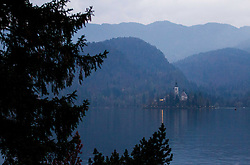 Bled's island with a church on November 8, 2013 at Lake Bled, Slovenia. Photo by Vid Ponikvar / Sportida