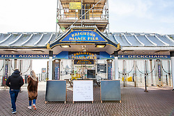 © Licensed to London News Pictures. 21/03/2020. Brighton, UK. The Brighton Palace Pier closed it gates for all except take away of food. Most of the hospitality trade across the country have by Boris Johnson been told to close their doors until further notice to stop the spread of the Coronavirus. Photo credit: Hugo Michiels/LNP