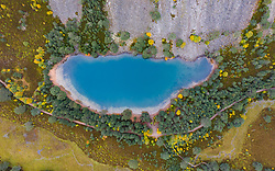 Glenmore, Scotland, UK. 14 October 2020. Autumn aerial view of An Lochan Uaine more commonly known as the Green Loch due to the striking green colour of it's water in Cairngorms National Park.  Iain Masterton/Alamy Live News