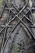 Nederland, Nijmegen, 11-9-2017Kruisende spoorrails.Foto: Flip Franssen
