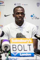 © Licensed to London News Pictures. 23/07/2015. London, UK. Usain Bolt speaking at a press conference in London ahead of his Sainsbury's Anniversary Games appearances tomorrow, at the Queen Elizabeth Olympic Park. Photo credit : James Gourley/LNP