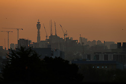 Seen from Acton,the sun rises over London which has been experiencing its hottest April days since 1949. London, April 20 2018.