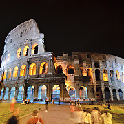 ROME, Italy - A night shot of the famous Roman ruins of the Coliseum in Rome, Italy, at night.