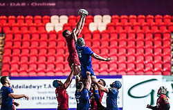 Scarlets' David Bulbring claims the lineout<br /> <br /> Photographer Craig Thomas/Replay Images<br /> <br /> Guinness PRO14 Round 17 - Scarlets v Leinster - Friday 9th March 2018 - Parc Y Scarlets - Llanelli<br /> <br /> World Copyright © Replay Images . All rights reserved. info@replayimages.co.uk - http://replayimages.co.uk
