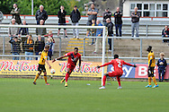 Vadaine Oliver of York city (c) celebrates after he scores his teams 3rd goal. Skybet football league two match, Newport county v York city at Rodney Parade in Newport, South Wales on Saturday 5th Sept 2015.  pic by Andrew Orchard, Andrew Orchard sports photography.