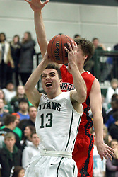 10 January 2015:  Bryce Dolan during an NCAA mens division 3 CCIW basketball game between the Carthage Reds and the Illinois Wesleyan Titans in Shirk Center, Bloomington IL