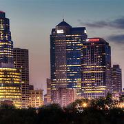 Downtown Kansas City MO skyline from Hospital Hill Park.
