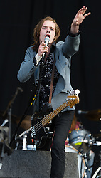 "© Licensed to London News Pictures. 28/08/2015. Reading Festival, UK. Palma Violets performing at Reading Festival on Day 1 of the festival.  In this picture - Alexander ""Chilli"" Jesson Photo credit: Richard Isaac/LNP"