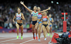 File photo dated 04-08-2012 of A previously unreleased picture of Great Britain's Jessica Ennis celebrates winning gold in the Women's Heptathlon