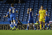 Brighton striker, Tomer Hemed gives thanks after scoring Brightons opening goal during the Sky Bet Championship match between Brighton and Hove Albion and Rotherham United at the American Express Community Stadium, Brighton and Hove, England on 15 September 2015. Photo by Geoff Penn.