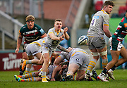 Wasps Scrum-half Ben Vellacott throws out a pass during a Gallagher Premiership Round 10 Rugby Union match, Friday, Feb. 20, 2021, in Leicester, United Kingdom. (Steve Flynn/Image of Sport)