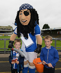 Bristol Rovers mascot Captain Black Arab poses for photos with young Bristol Rovers fans- Mandatory by-line: Dougie Allward/JMP - 07966386802 - 26/07/2015 - SPORT - FOOTBALL - Bristol,England - Memorial Stadium - Bristol Rovers Open Day - Bristol Rovers Open Day