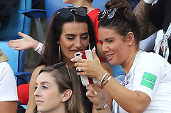Annie Kilner, girlfriend of England's Kyle Walker (left) and Rebekah Vardy, wife of England's Jamie Vardy during the FIFA World Cup Group G match at Kaliningrad Stadium.