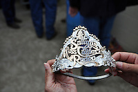 """The crown for 2014's Miss California Rodeo Salinas at Thursday's """"Tough Enough To Wear Pink"""" night."""