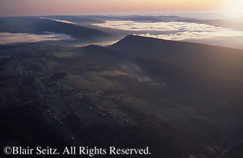 PA Landscapes, Southcentral Pennsylvania, Aerial Photographs, Susquehanna River, Blue Ridge Mountains, Morning Fog, Perry County, PA