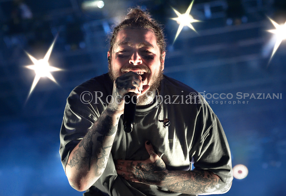 Post Malone performing live on stage in Rome at Rock in Roma festival in  Rome, Italy on 11 July 2018.