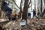 "April 5, 2016, Guilford, CT<br /> Mara Lavitt -- Special to the Hartford Courant<br /> Guilford native Matt Newton of Greenwich on his family's property in Guilford making his horror short-film ""Hide/Seek."" The bustle and wait while a scene is set up."