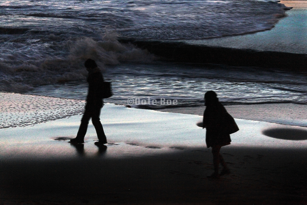 people walking on the beach during night time