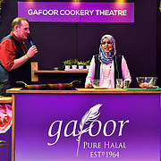 A Muslim chef demotration at London Muslim Shopping Festival 2019 on 14 April 2019 at Olympia London, UK.