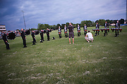 The Oregon Marching Band practices in Oregon, Wisconsin on June 7, 2008.