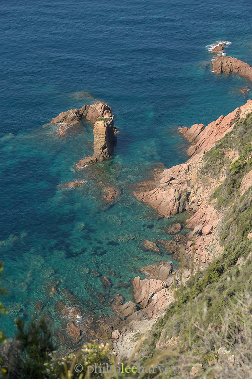 High angle view of bay and rocky coastline, Calanches de Piana, Corsica, France