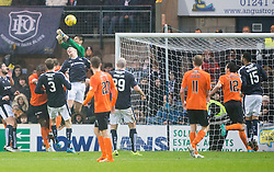 Dundee United's Eiji Kawashima misses for Dundee's Kane Hemmings (15) scoring their goal. <br /> Half time : Dundee 1 v 1  Dundee United, SPFL Ladbrokes Premiership game played 2/1/2016 at Dens Park.
